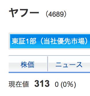 ヤフーの株価は300円くらい
