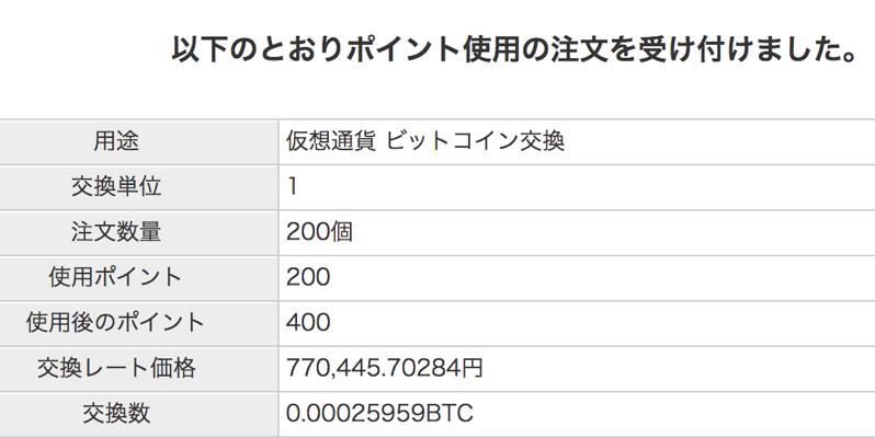 ビットコインのポイント交換受付