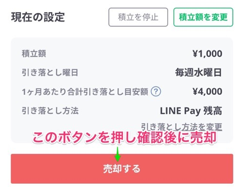lineワンコイン投資の売却方法