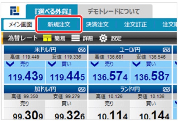 FXプライム by GMOのデモ取引画面