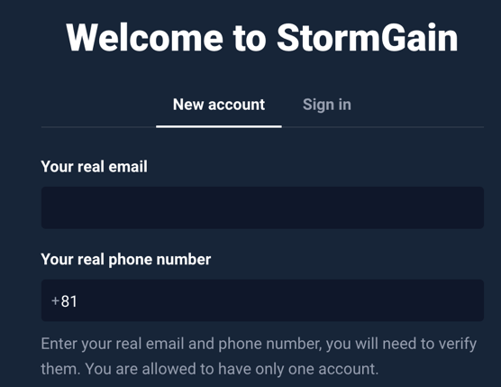 StormGainで登録