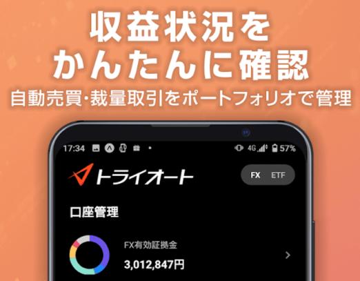 トライオートFXアプリのポートフォリオ